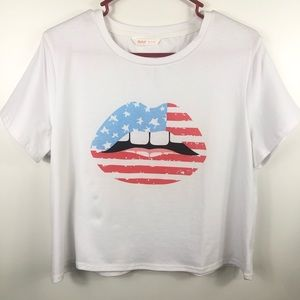 Romwe American Flag Mouth/ Lips Graphic T-Shirt
